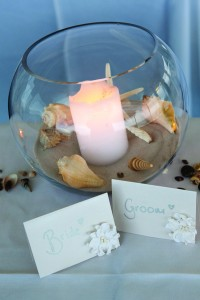 Gold Fish Bowl with candles and shells