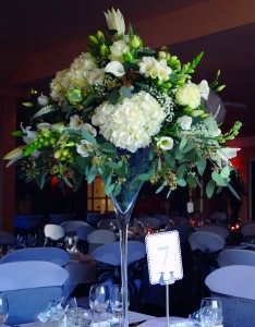 Martini Glass with a flower arrangement