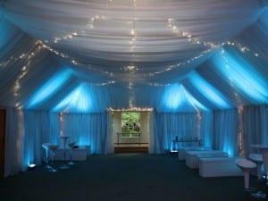 full venue white rippled drape with fairy lights
