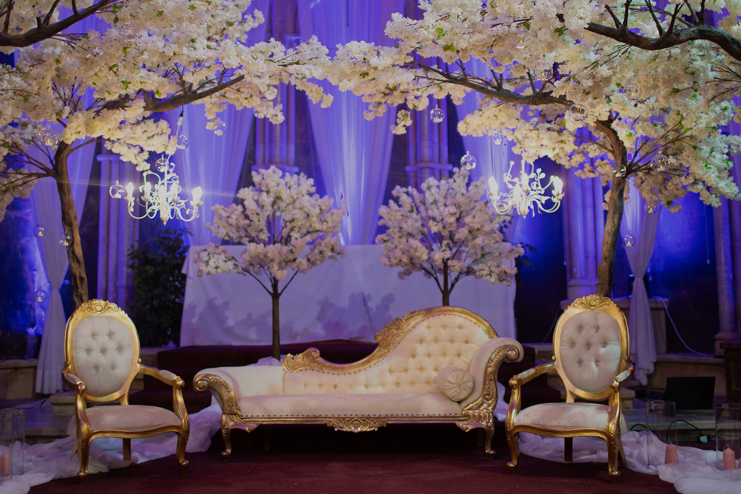 More Weddings decor hire with white blossom trees