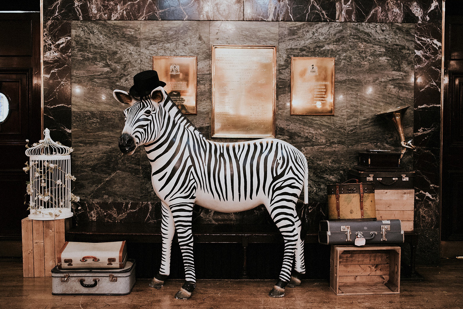 More Wedding props and theming with zebra prop