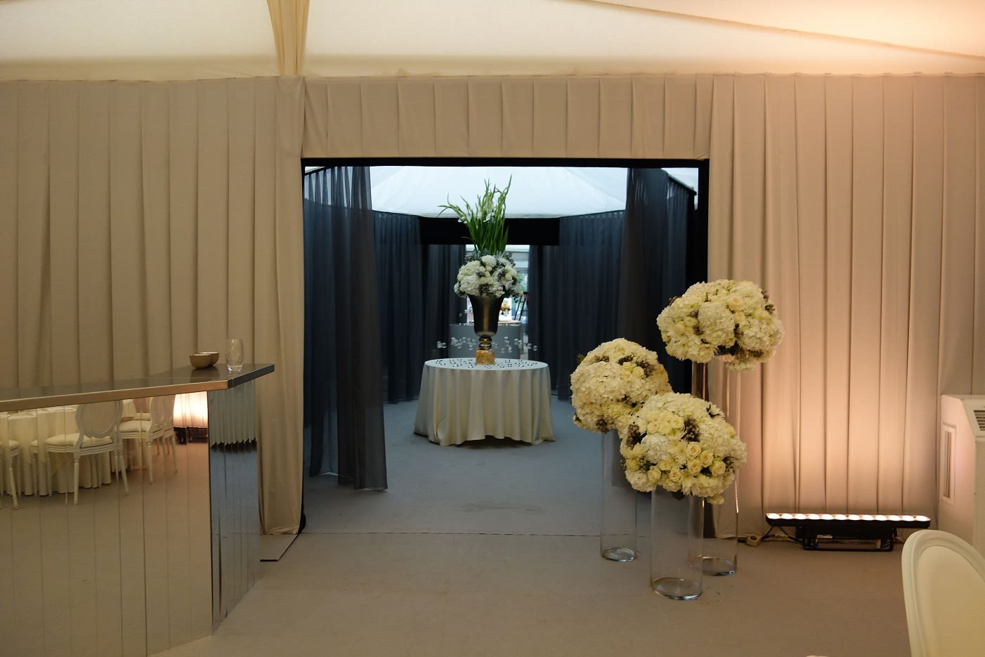 Marquee wedding decor hire with draping