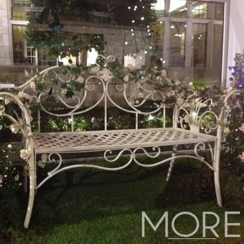 More weddings outdoor ornate bench furniture hire