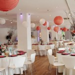 peach & white lanterns at OXO2