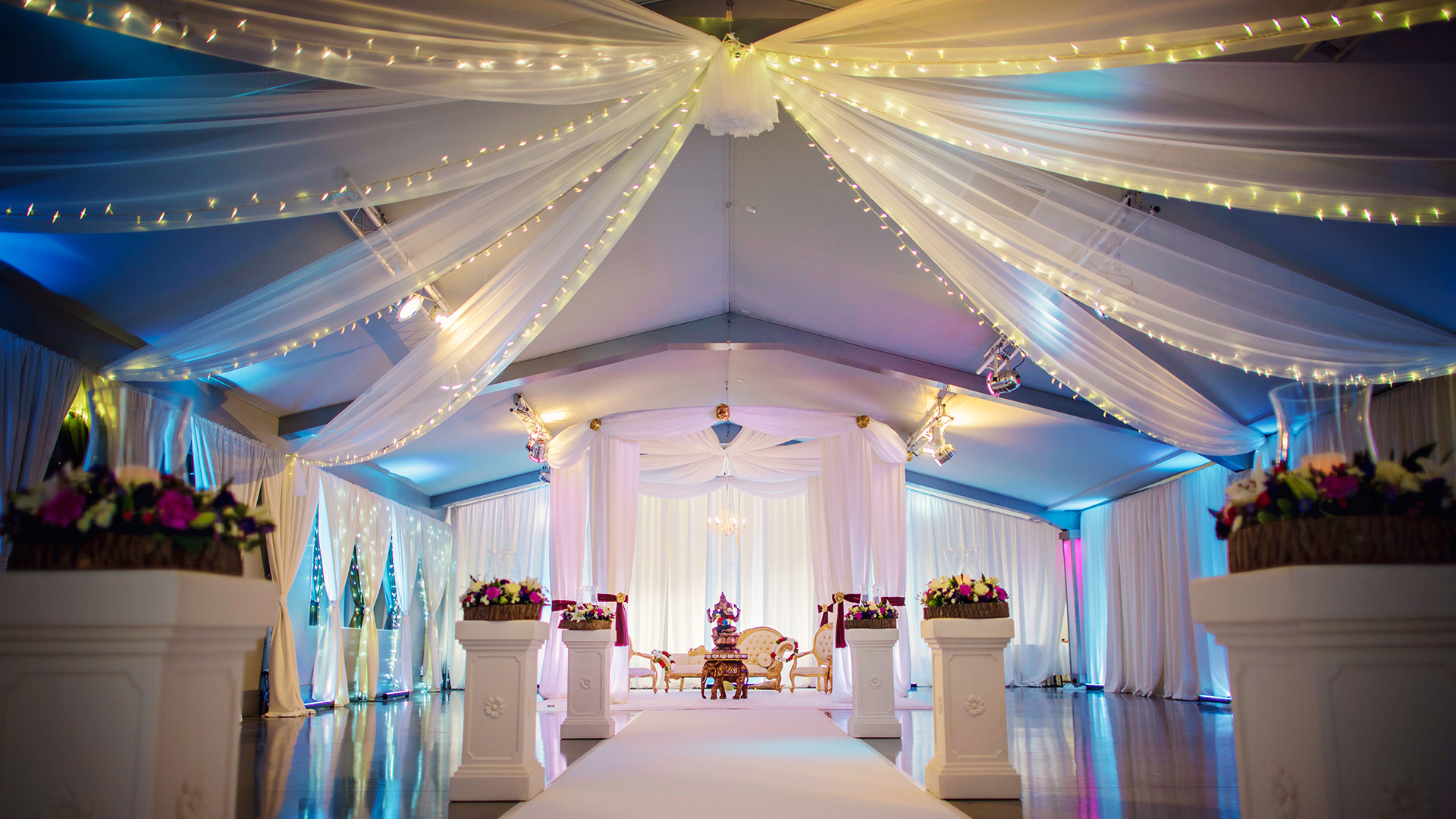 wedding ceiling drapes with fairy lights at ladywood estate