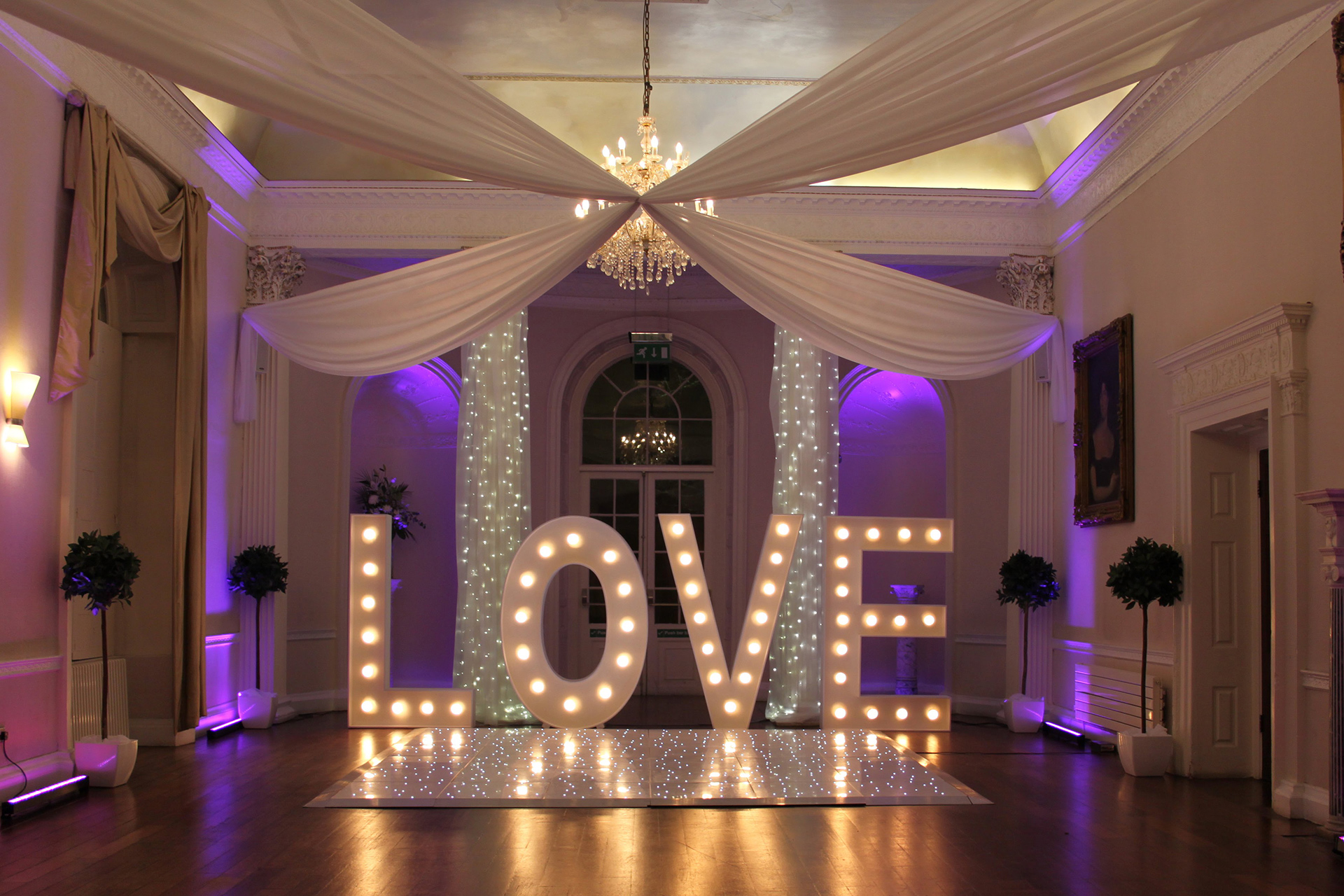 wedding ceiling drapes at colwick hall
