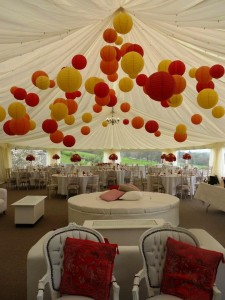 yellow, red and orange paper lanterns